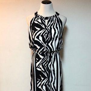 Chicos Maxi Black White Print Dress Size 1 Small S